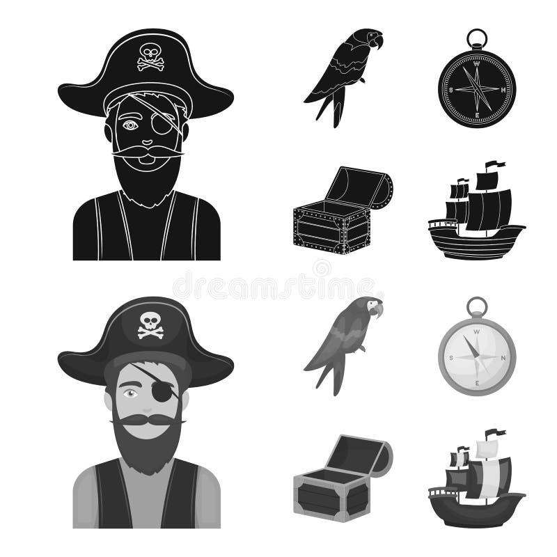 Piraat, bandiet, hoed, verband De piraten plaatsen inzamelingspictogrammen in zwarte, monochrom Web van de de voorraadillustratie stock illustratie