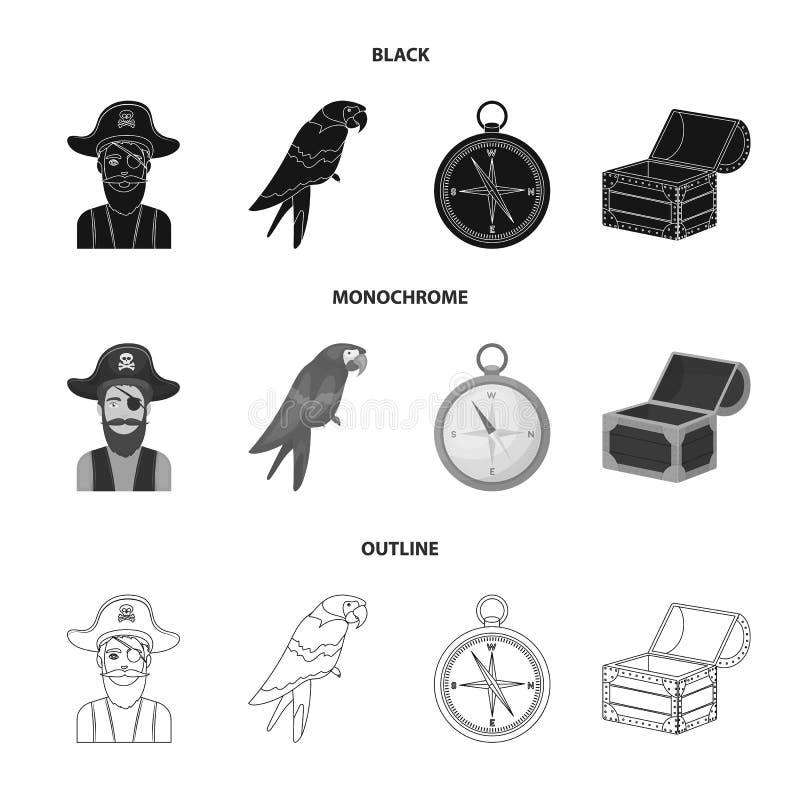 Piraat, bandiet, hoed, verband De piraten plaatsen inzamelingspictogrammen in zwarte, zwart-wit, vector het symboolvoorraad van d vector illustratie