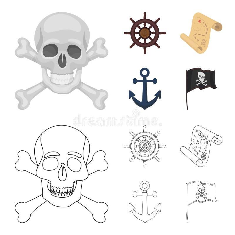 Piraat, bandiet, leidraad, vlag De piraten geplaatst inzamelingspictogrammen in beeldverhaal, schetsen Web van de de voorraadillu royalty-vrije illustratie