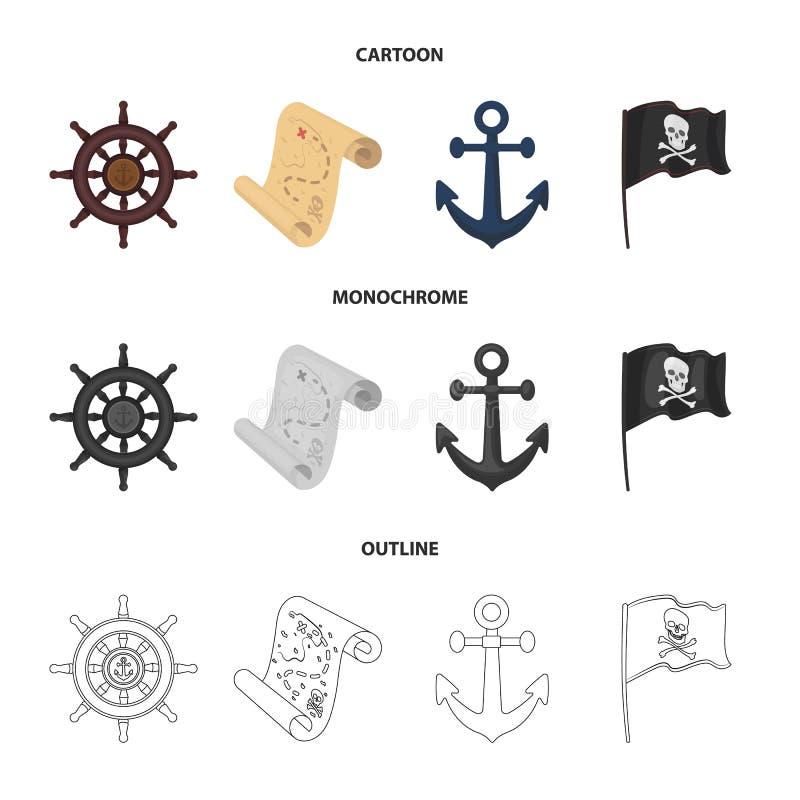 Piraat, bandiet, leidraad, vlag De piraten geplaatst inzamelingspictogrammen in beeldverhaal, schetsen, de zwart-wit voorraad van vector illustratie