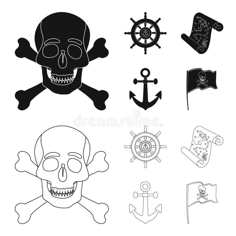 Piraat, bandiet, leidraad, vlag De piraten geplaatst inzamelingspictogrammen in zwarte, schetsen Web van de de voorraadillustrati stock illustratie