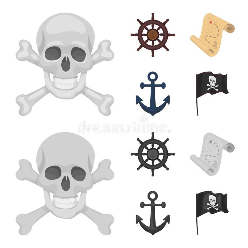 Piraat, bandiet, leidraad, vlag De piraten plaatsen inzamelingspictogrammen in beeldverhaal, zwart-wit de voorraadillustratie van royalty-vrije illustratie