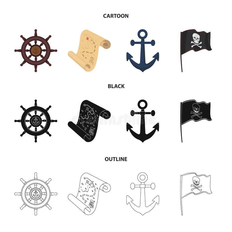 Piraat, bandiet, leidraad, vlag De piraten plaatsen inzamelingspictogrammen in beeldverhaal, zwarte, vector het symboolvoorraad v stock illustratie
