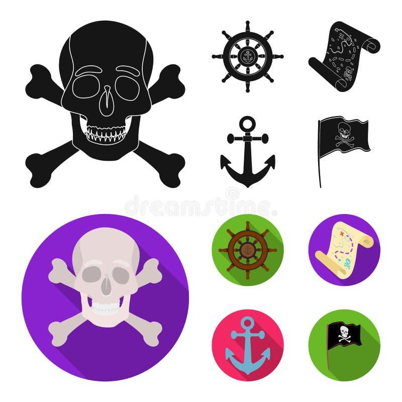 Piraat, bandiet, leidraad, vlag De piraten plaatsen inzamelingspictogrammen in het zwarte, vlakke Web van de de voorraadillustrat royalty-vrije illustratie