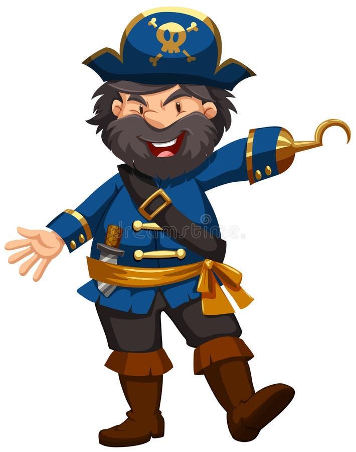 Piraat in blauwe kleding royalty-vrije illustratie
