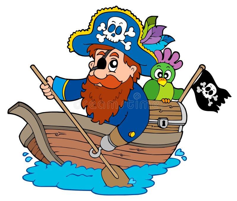 Piraat die met papegaai in boot paddelt stock illustratie