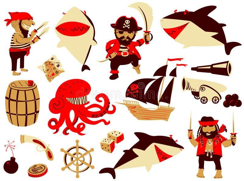 Piraat en haaikarakters en zeevaartvoorwerpen vector illustratie