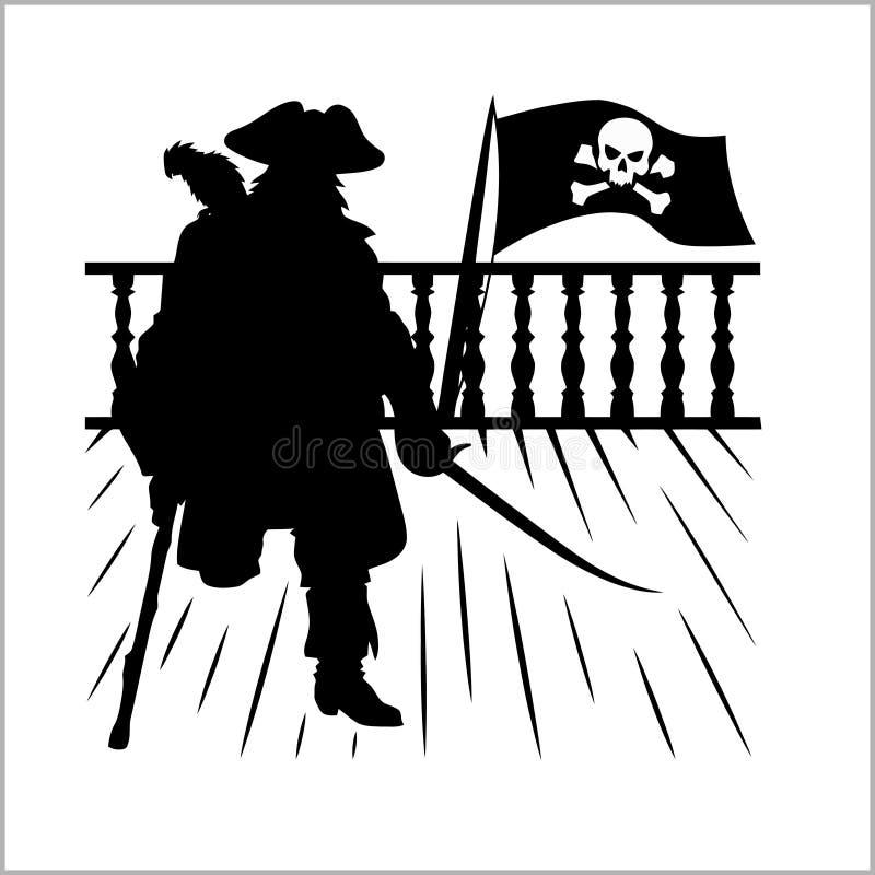 Piraat en Jolly Roger - vectorsilhouet stock illustratie