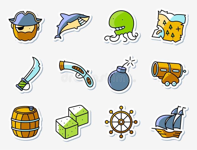 Piraat en misdadige die pictogrammen in minimalistic dunne van de lijnkunst wordt geplaatst stock illustratie