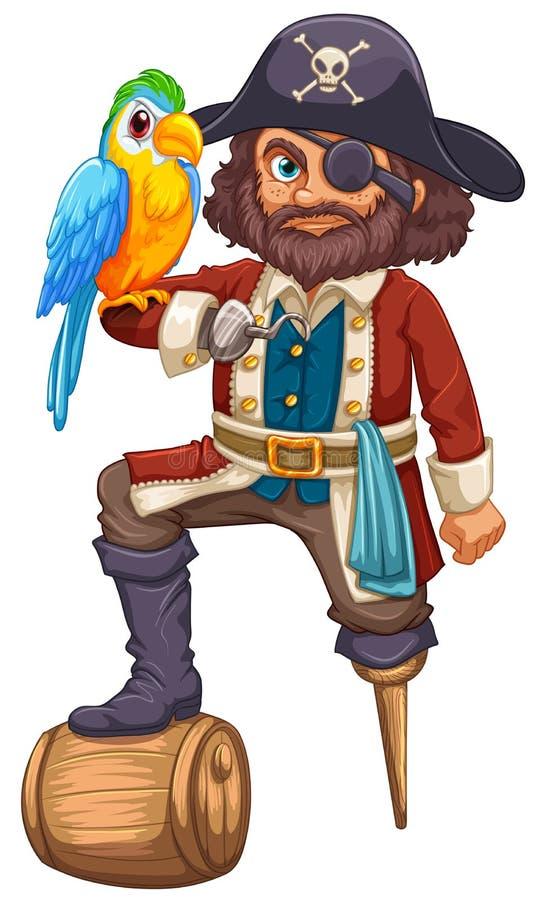 Piraat en Papegaai vector illustratie