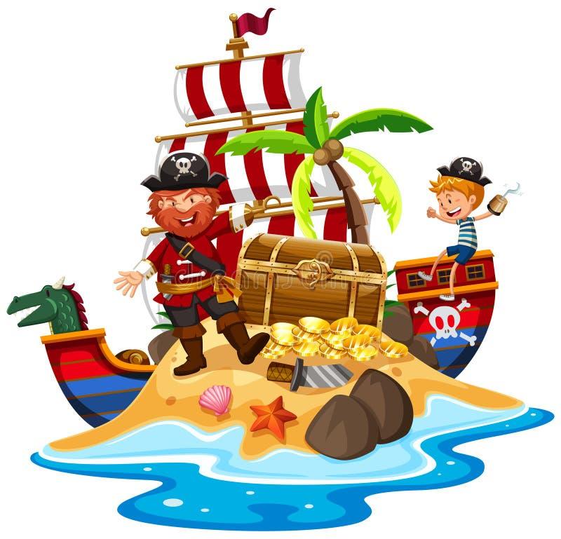 Piraat en schip bij schateiland stock illustratie