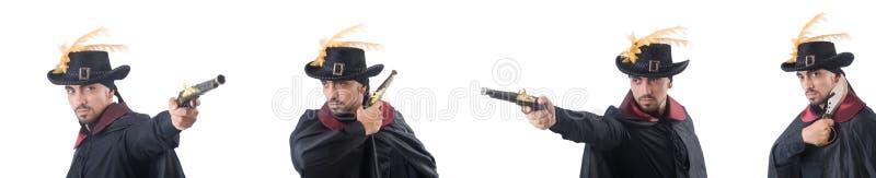 Piraat geïsoleerd op het wit stock afbeeldingen