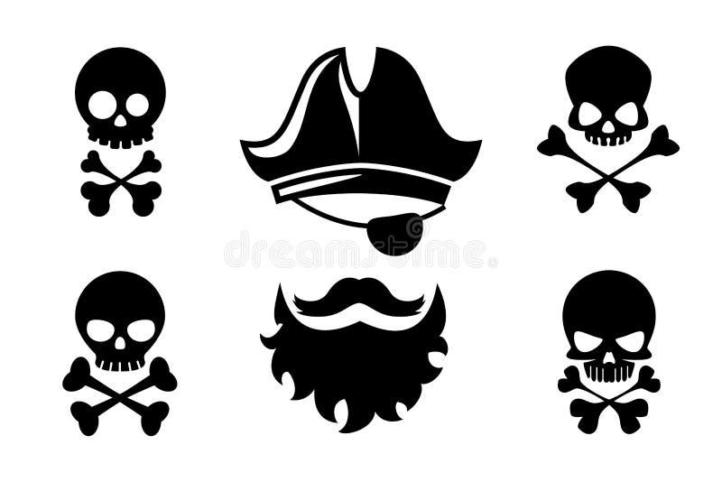 Piraat hoofd vectorpictogrammen met schedel en gekruist vector illustratie