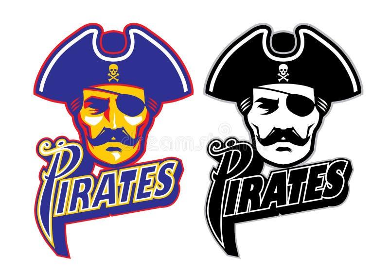 Piraat hoofdmascotte stock illustratie