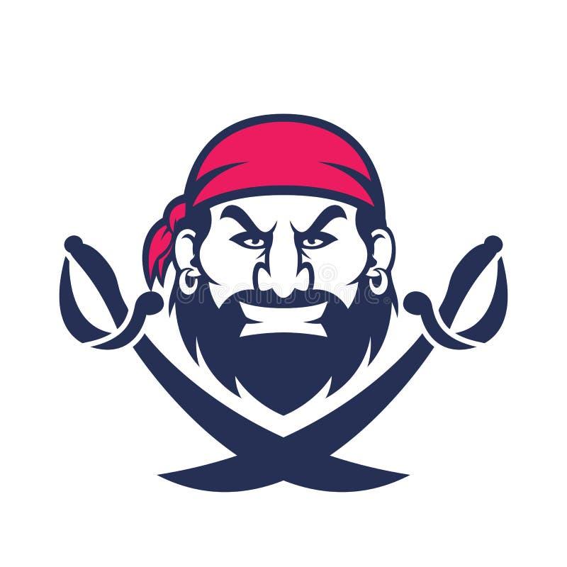 Piraat hoofdmascotte vector illustratie