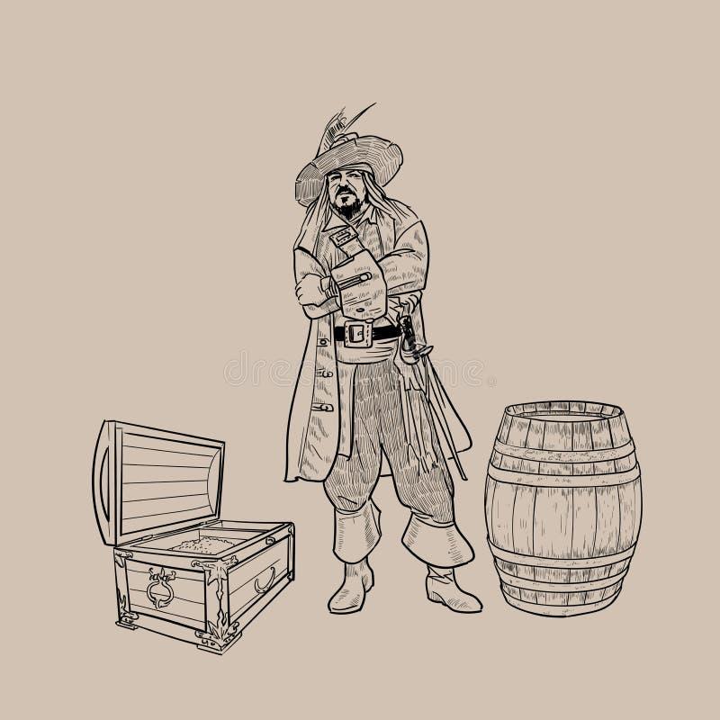 Piraat met een hoed en een machete dichtbij het vat en de borst van goud Vector vector illustratie