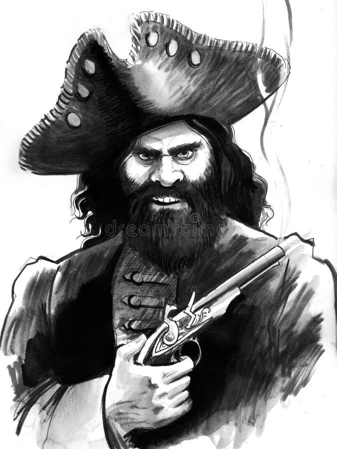 Piraat met een pistool royalty-vrije illustratie