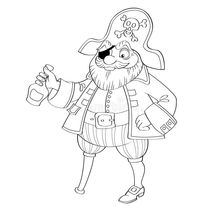 Piraat met fles rum stock illustratie