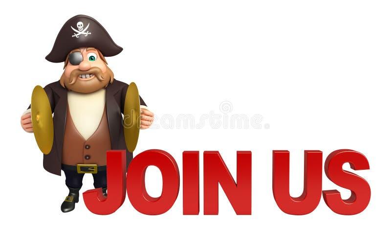 Piraat met Join ons & muzikale instument royalty-vrije illustratie