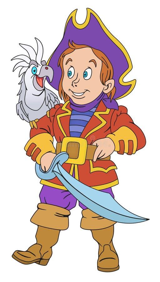 Piraat met machete royalty-vrije illustratie