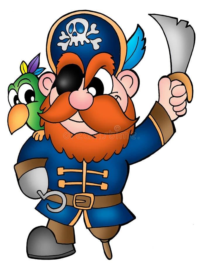 Piraat met papegaai stock illustratie