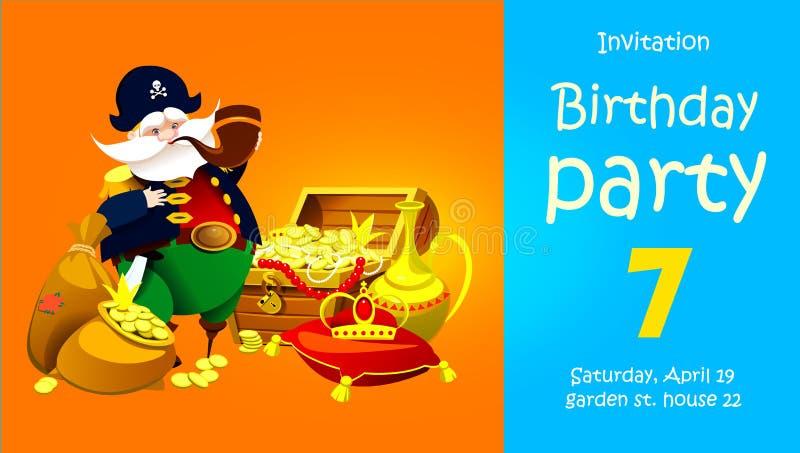 Piraat met schat De partij van uitnodigingskinderen ` s vector illustratie