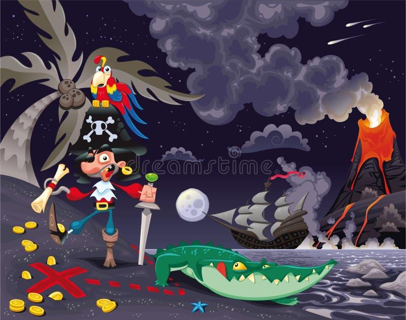 Piraat op het eiland in de nacht. vector illustratie