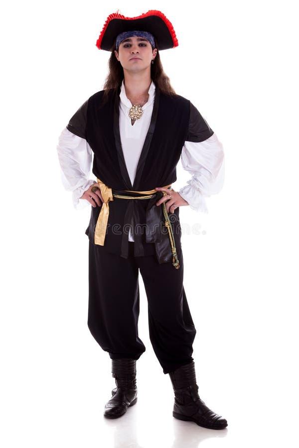 Piraat op witte achtergrond wordt geïsoleerd die royalty-vrije stock afbeeldingen