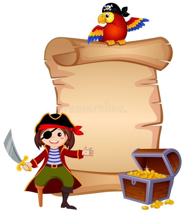 Piraat, papegaai, schatborst en malplaatjebrief vector illustratie