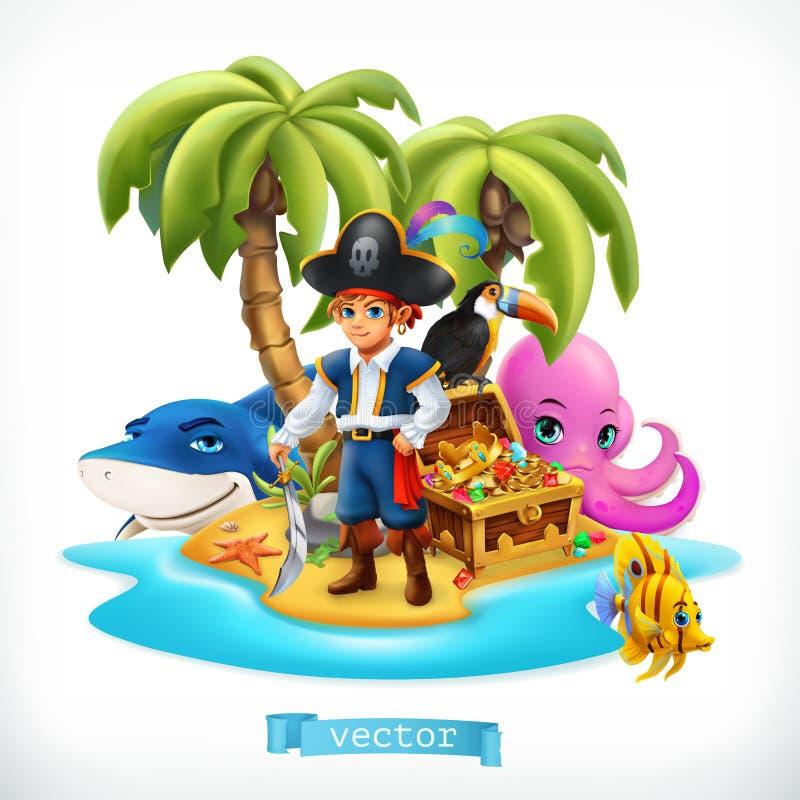 piraat Weinig jongen en grappige dieren Tropische eiland en schatborst, vectorpictogram vector illustratie