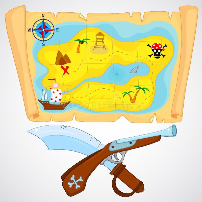 Download Piraatattributen vector illustratie. Illustratie bestaande uit kaart - 39110651