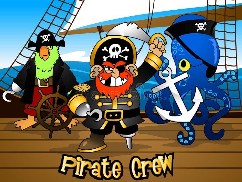 Piraatbemanning met de Kapitein op een schipdek vector illustratie