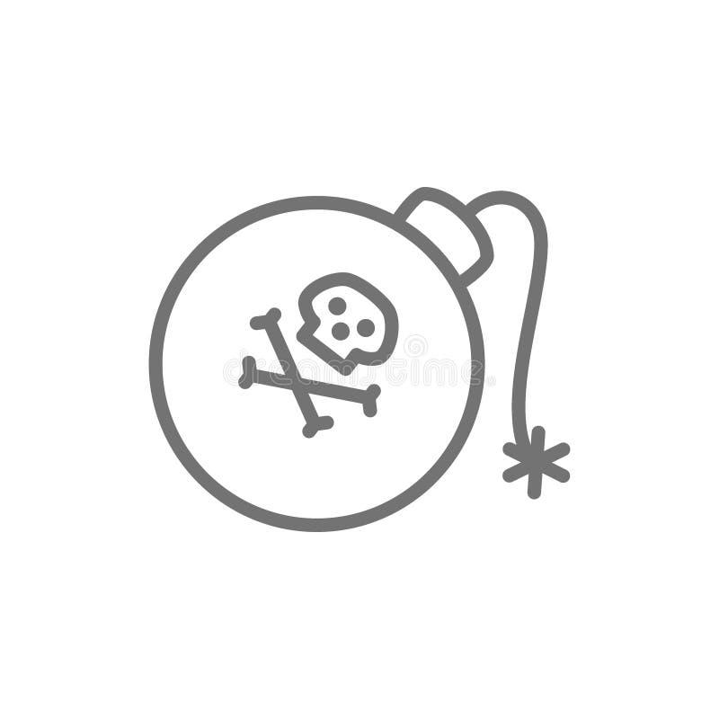 Piraatbom, granaat, het pictogram van de wapenslijn Geïsoleerdj op witte achtergrond stock illustratie