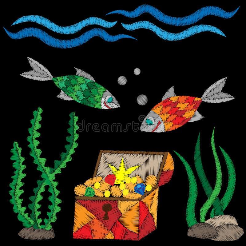 Piraatboomstam onder water met schat en vissenborduurwerk stitc royalty-vrije illustratie