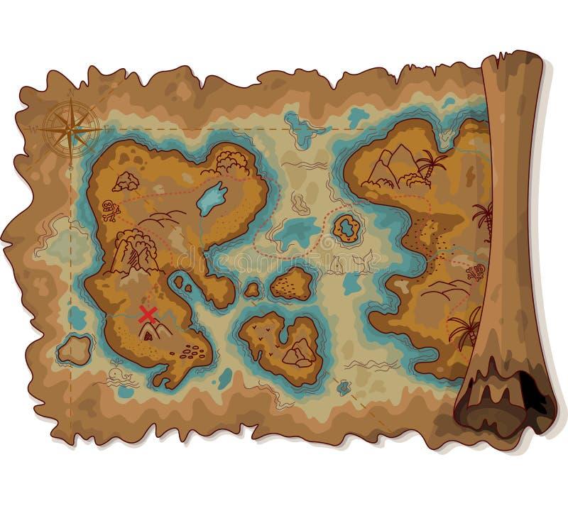 Piraatkaart stock illustratie
