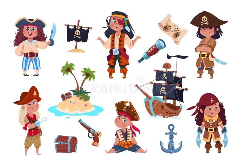 Piraatkarakters De piraten, de zeelieden en de kapiteinsvector geïsoleerde reeks van beeldverhaaljonge geitjes royalty-vrije illustratie