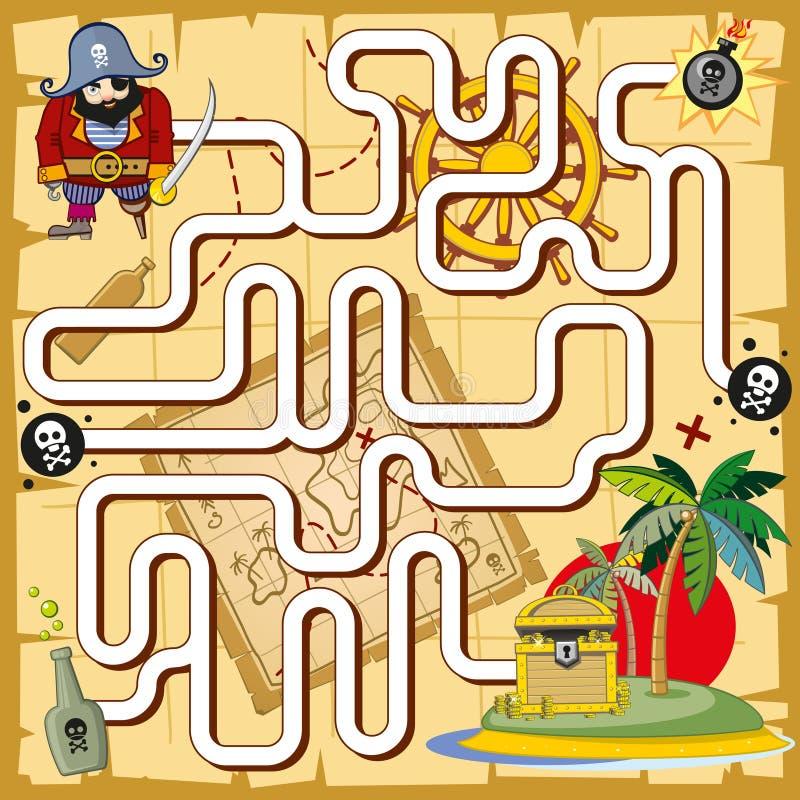Piraatlabyrint, labyrintspel voor peuterkinderen stock illustratie