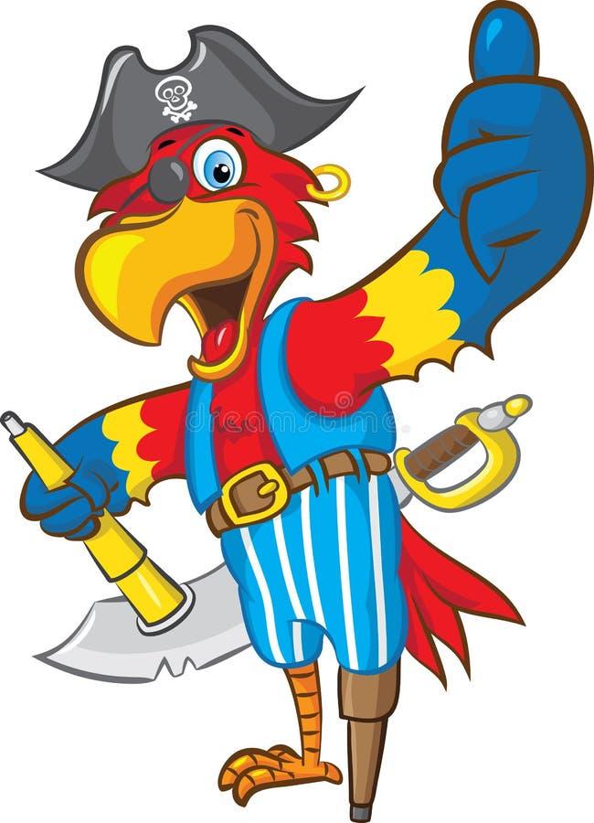 Piraatpapegaai vector illustratie