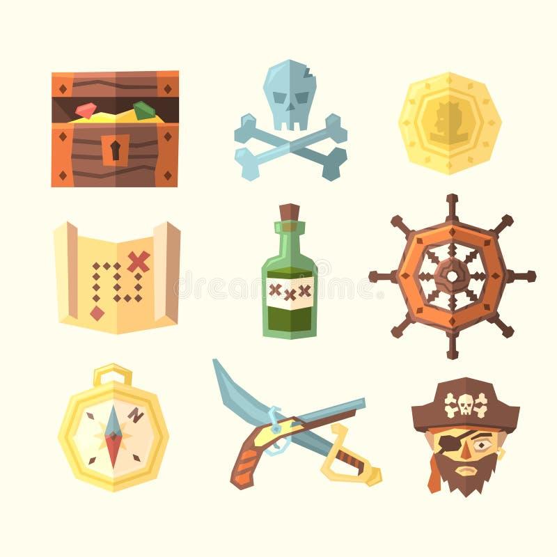 Piraatpictogrammen vector illustratie