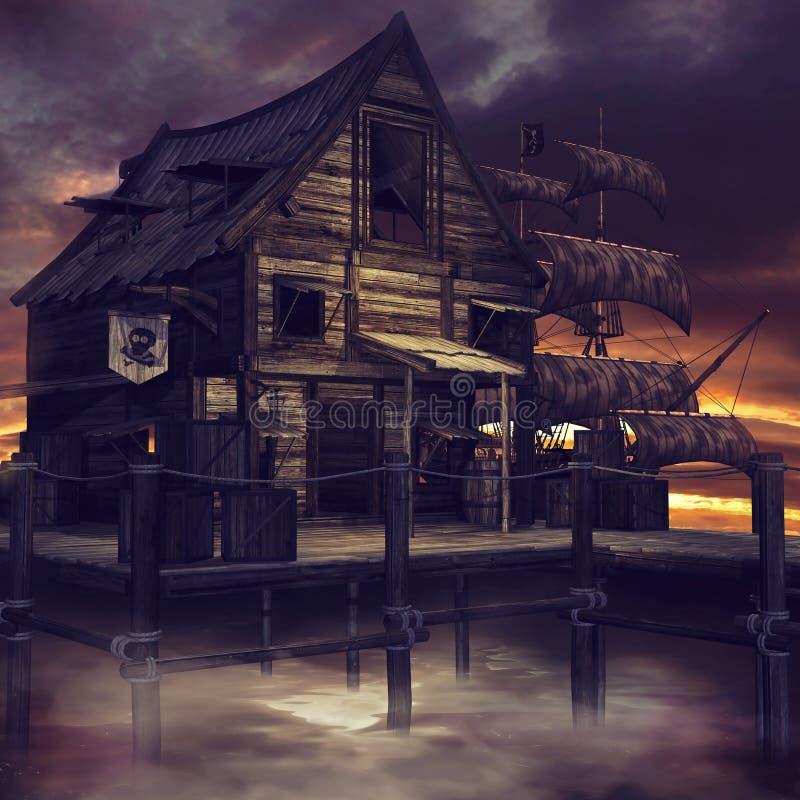 Piraatplattelandshuisje en schip royalty-vrije illustratie
