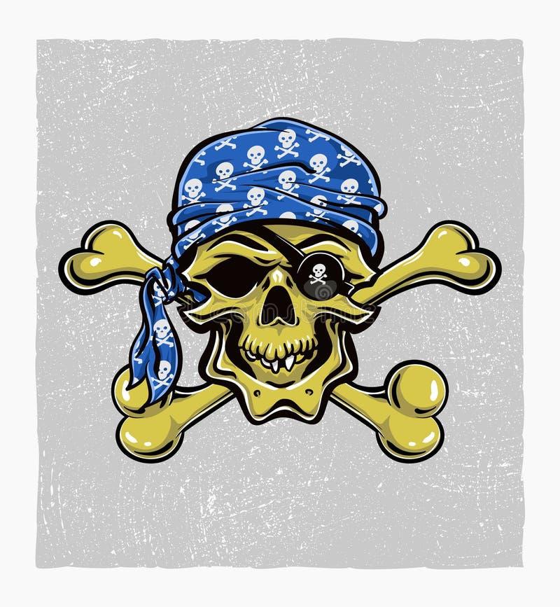 Piraatschedel. Getrokken hand. Vectoreps8 vector illustratie