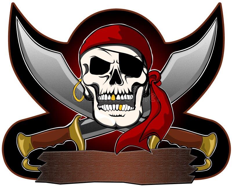 Piraatschedel met zwaardenteken stock foto