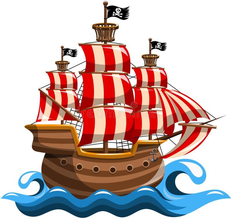 Piraatschip royalty-vrije illustratie