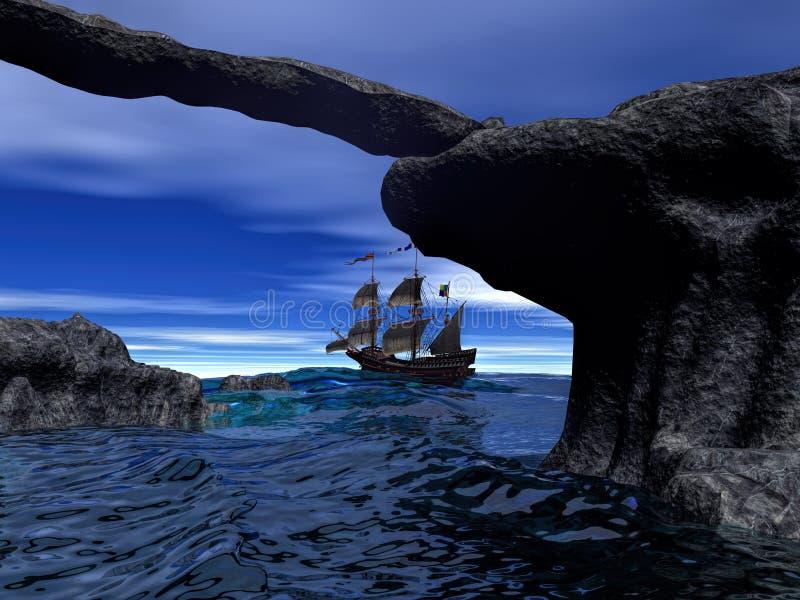 Piraatschip bij het kalme water 3d teruggeven royalty-vrije illustratie
