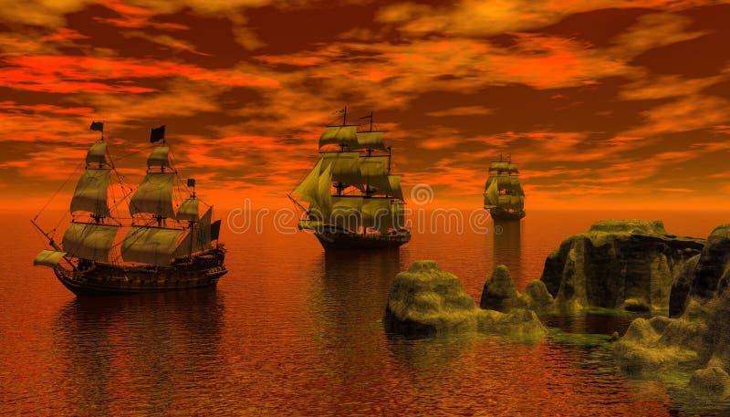 Piraatschip bij het kalme water 3d teruggeven vector illustratie
