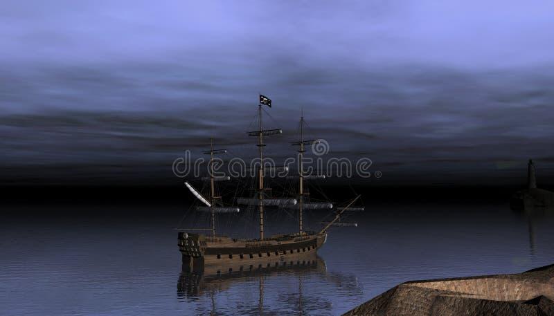 Piraatschip na zonsondergang royalty-vrije illustratie
