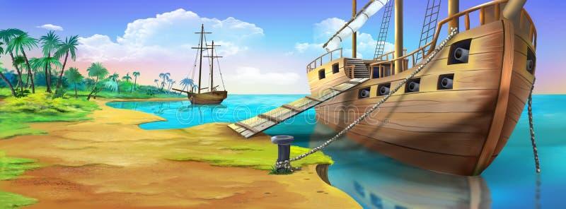 Piraatschip op de kust van het Piraateiland De mening van het panorama stock illustratie