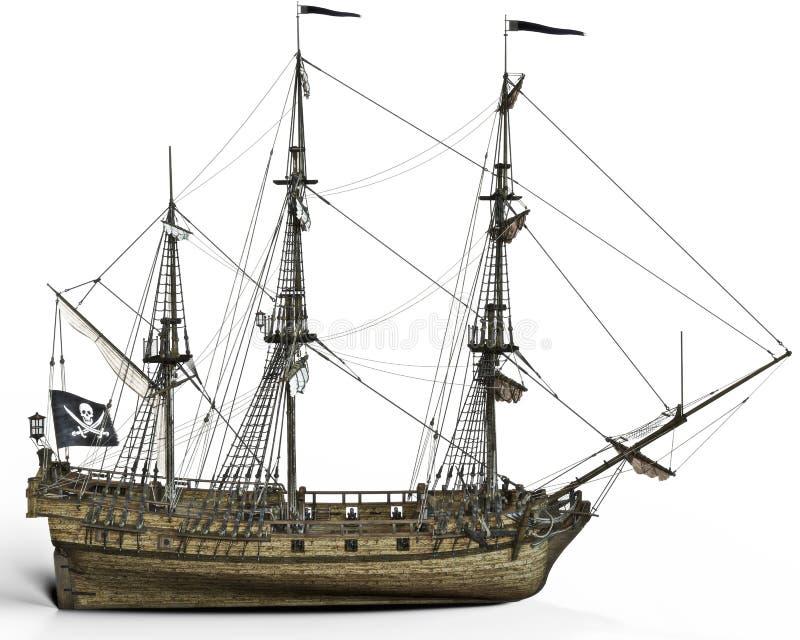 Piraatschip op een witte achtergrond stock illustratie