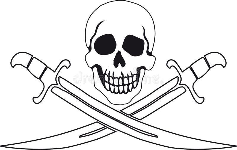 Piraatsymbool heel Roger royalty-vrije illustratie