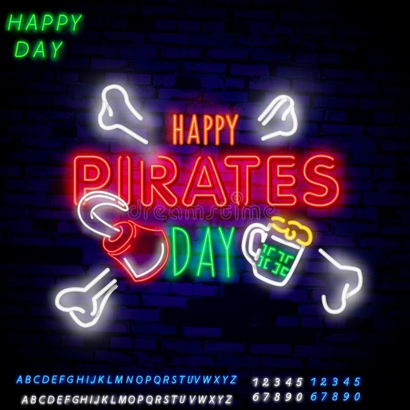 Piraci bawją się Neonowego teksta wektor Pitate neonowa ikona, projekta szablon, nowożytny trendu projekt, nocy signboardVintage  ilustracji